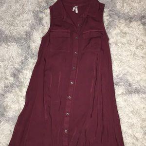 Burgundy Button down Dress